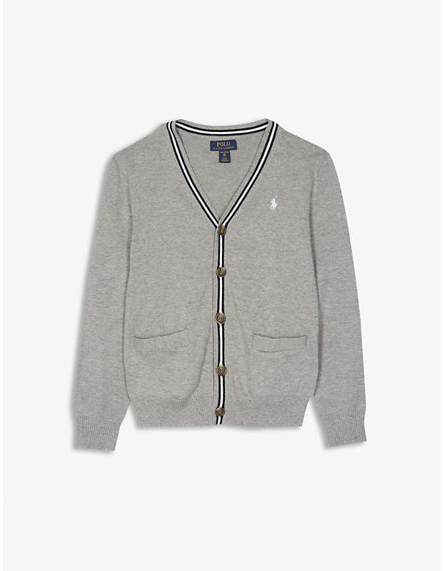 Embroidered logo striped cotton cardigan