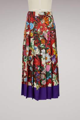 Gucci Flora Tiger silk skirt