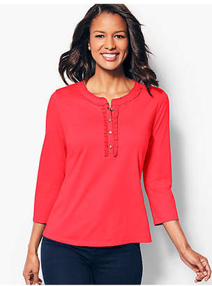 Talbots Trimmed Henley Tee - Solid