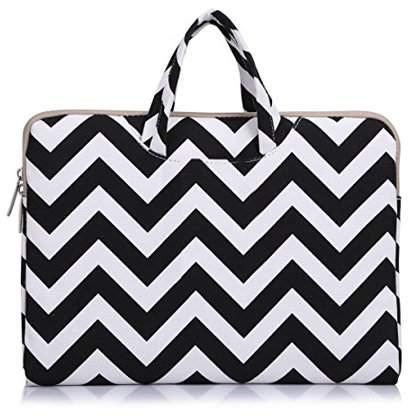 Mosiso Laptop Briefcase, Canvas Fabric Carry Case Sleeve Handbag for 11-11.6 Inch Acer Chromebook 11 / HP Stream 11 / Samsung Chromebook 2 / Notebook Computer / MacBook Air 11, Chevron Black-1
