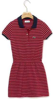 Lacoste Girls' Fitted Striped Cotton Pique Polo Dress