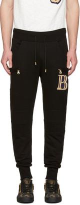 Pierre Balmain Black Embroidered Logo Lounge Pants $650 thestylecure.com