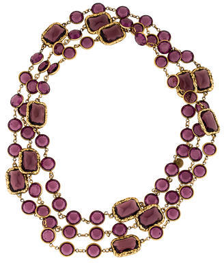 ChanelChanel Gold-Toned Crystal Chicklet Sautoir Necklace