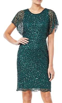Adrianna Papell Flutter Sleeve Sequin Dress, Dusty Emerald
