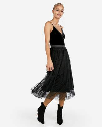 Express Velvet Bodice Tulle Midi Dress