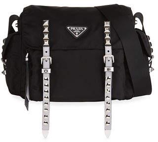 ... at Neiman Marcus · Prada Black Nylon Messenger Bag with Studding 9a58217a7489d