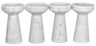 Noir Set of 4 Aleka Marble Candleholders - White