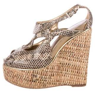 Christian Dior Peep-Toe Snakeskin Wedges