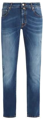 Jacob Cohen Rip And Repair Slim Fit Jeans - Mens - Blue