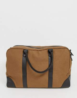 936c6782e Asos Design DESIGN canvas holdall in tan with brown double straps
