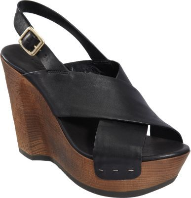 Roberto Del Carlo Stacked Wooden Wedge Slingback Sandal
