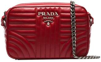 Prada red Diagram medium quilted leather cross body bag