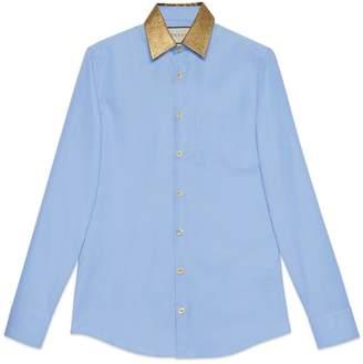 Gucci Oxford cotton shirt with lurex collar