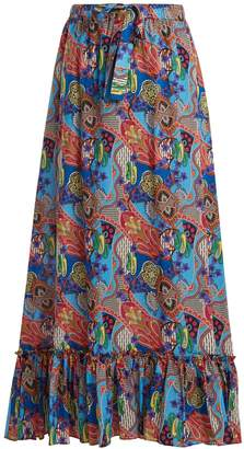 Etro Abstract floral-print ruffle-trim cotton skirt