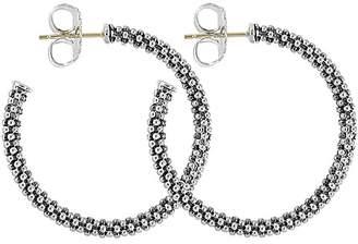 Lagos Beaded Thin Hoop Earrings, Sterling Silver, 28mm