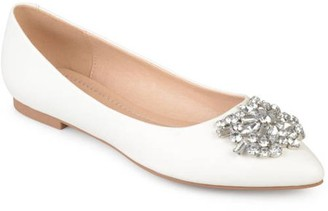 Co Brinley Women's Faux Leather Pointed Toe Jewel Flats