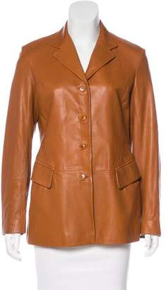 Luciano Barbera Leather Notch-Lapel Blazer