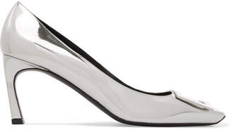Roger Vivier Belle Vivier Trompette Metallic Leather Pumps - Silver
