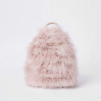 River Island Womens Light Pink marabou backpack