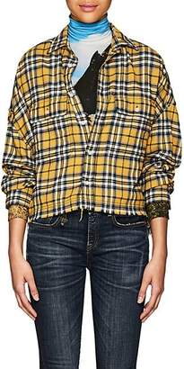 R13 Women's Plaid Cotton Crop Work Shirt - Yellow