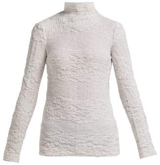 Dolce & Gabbana Floral High Neck Stretch Lace Top - Womens - White