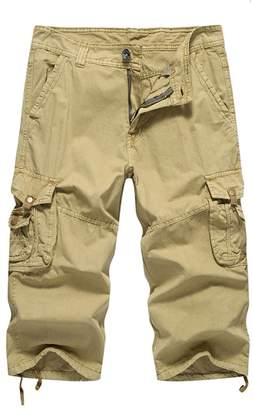 FOURSTEEDS Womens 3/4 Length Multi-Pockets Bermuda Twill Cotton Out Door Hiking Cargo Shorts