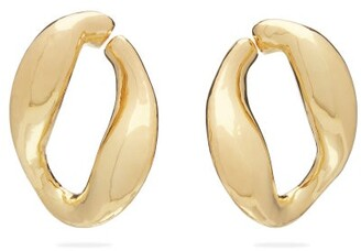 Misho - Chunky Chain Gold Plated Hoop Earrings - Womens - Gold