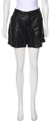 Skingraft Leather Mid-Rise Shorts
