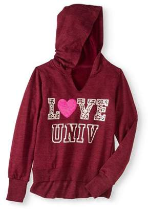 """ONE STEP UP Girls """"Hoodie Hook Up"""" Slub French Terry Pullover Hoodie with Thermal Hangdown & Shiny Applique"""