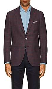 Isaia MEN'S SANITA PLAID WOOL-BLEND TWO-BUTTON SPORTCOAT-BLUE SIZE 42 L