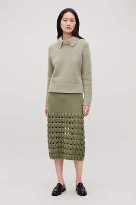 Cos CUT-OUT WOOL-KNIT PENCIL SKIRT