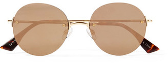 Le Specs - Bodoozle Round-frame Gold-tone Mirrored Sunglasses - one size $80 thestylecure.com