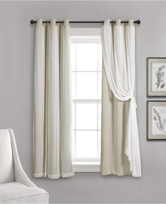 """Lush Decor 63""""x38"""" Grommet Sheer Panels with Insulated Blackout Lining"""