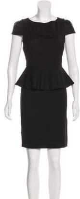 Alice + Olivia Leather-Paneled Peplum Dress