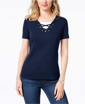 Karen Scott Cotton Layered-Look Grommet-Neck Top, Created for Macy's