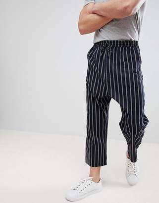 Asos DESIGN Oversized Tapered Pants In Navy Stripe With Elasticated Waist