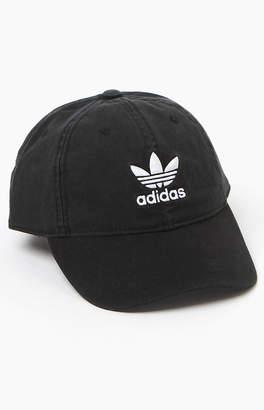 adidas Washed Black Strapback Dad Hat