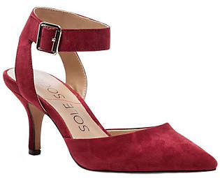 Sole Society Suede Leather Ankle Strap Pumps -Olyvia