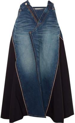 Junya Watanabe Paneled Denim And Wool-twill Midi Skirt - Mid denim