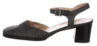 Salvatore Ferragamo Round-Toe Mid-Heel Sandals Grey Round-Toe Mid-Heel Sandals