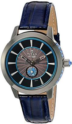 Titan Women's 'HTSE Self Energizing' Quartz Stainless Steel and Leather Watch