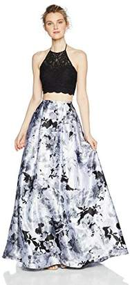 Blondie Nites Junior's Long Two Piece Lace Top Floral Skirt