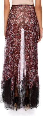 Neiman Marcus Redemption Sheer Floral-Print Silk Skirt with Lace Hem