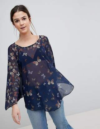 QED London Butterfly Print Tunic