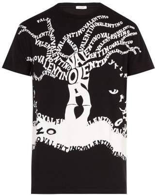 Valentino Tree Logo Print Cotton T Shirt - Mens - Black