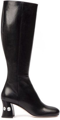 Miu Miu Black Ankle Boots With Crystals Details