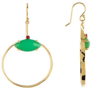 Ippolita 18K Gold Prisma Chrysoprase Marquise Front-Facing Hoop Earrings