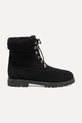 Aquazzura The Heilbrunner Shearling-trimmed Suede Ankle Boots - Black