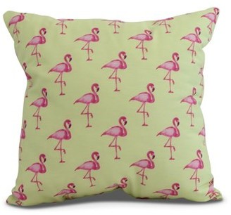 Simply Daisy, 26 x 26 inch, Flamingo Fanfare Multi Animal Print Pillow, Light Green
