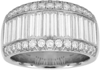 Platinum 2.88ct 3 Row Diamond Baguette Cut Eternity Ring - Size L